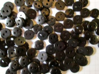 9mm Acrylic Black Buttons x 50